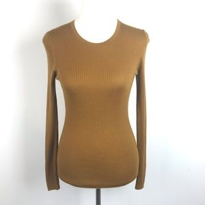 Theory Mirzi Mustard Ribbed Merino Wool Sweater